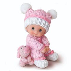 Centrotorta in resina 10 cm. bambina rosa seduta con peluche