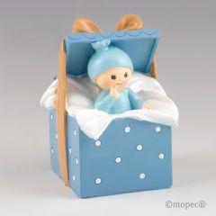 Figura para pastel+hucha bebé Caja Regalo azul 9 x14,5x9cm.