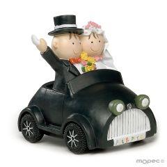 Figura pastel-hucha novios Pit-Pita coche 16cm