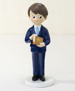 Figura Comunión niño traje azul y Biblia en mano 17cm