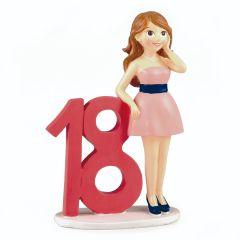 Figura para pastel 18 aniv.chica vestido 20cm.