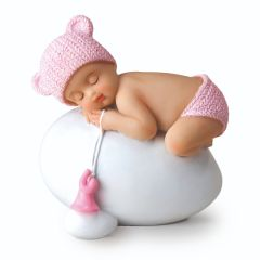 Resin cake topper pink baby girl sleeping, 8cm