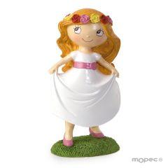 Figura pastel niña Comunión en pradera 15,5cm.
