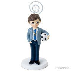 Communion boy with soccer ball cardholder, 11cm