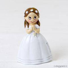 Imán niña Comunión vestido largo y corona flores, 6cm.min.12