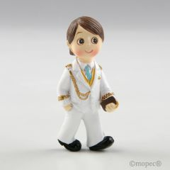 Imán+anilla Comunión niño almirante blanco 6cm mín.12