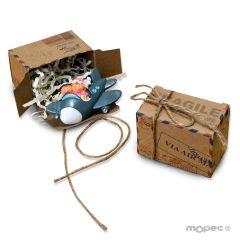 Imán Pit-Pita avión en caja air mail con cordón rústico