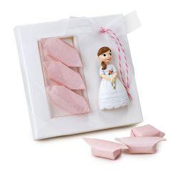 Calamita bambina comunione con rosario con 3 caramelle
