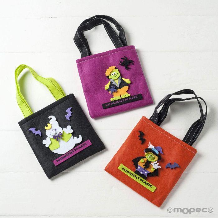diseño exquisito comprar online nueva alta calidad Bolsa de fieltro de 14cm.,personajes de Halloween min.3