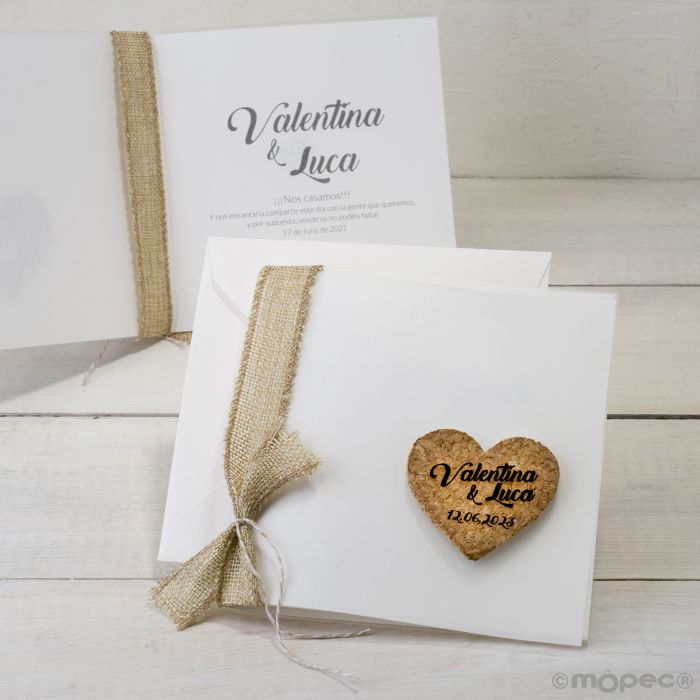 Partecipazioni Matrimonio Buste.Partecipazione Matrimonio Busta Cuore Di Sughero