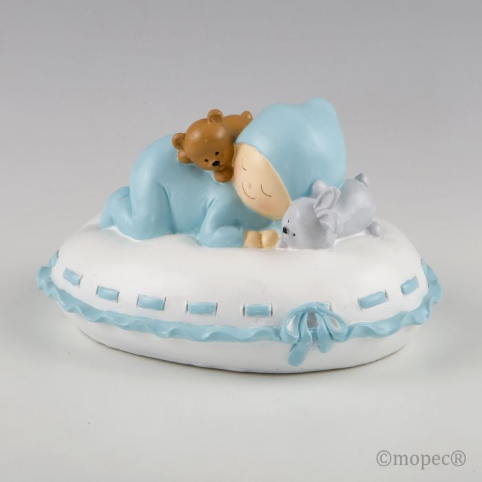 Huchas Para Bebes.Figure For Cake And Baby Piggy Bank With Blue Pillow Wholesale
